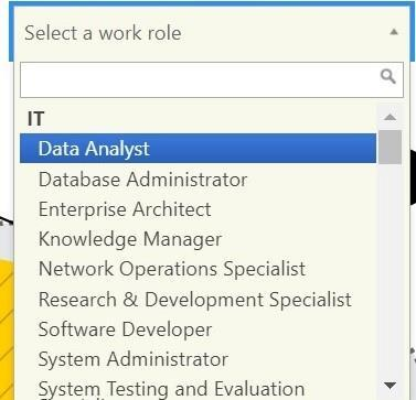 The Select a Work Role search field and drop-down expanded to show the list is organized by community.