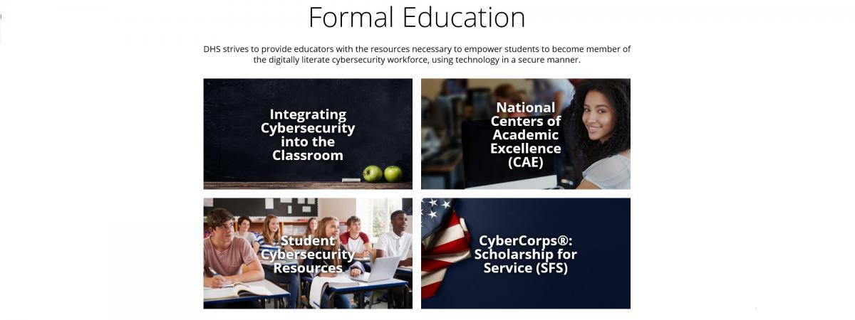 This is a screenshot of the NICCS Formal Education navigation.