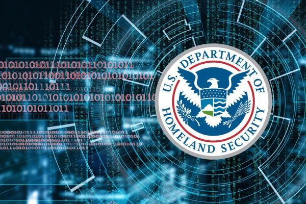 The DHS logo on a background of binary digits.