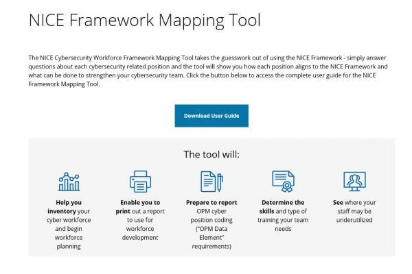 This is a screenshot of the NICE Framework Mapping Tool.