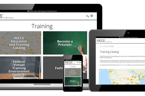 A preview of the NICCS site redesign, specifically the Training Landing Page and NICCS Education and Training Catalog, and how it will appear on desktop, tablet, and mobile devices.