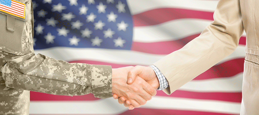 Soldier and Professional Shaking Hands