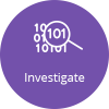 Icon that says Investigate with binary code and magnifying glass image.