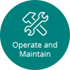 Icon that says Operate and Maintain with wrench and hammer together in x shape image.