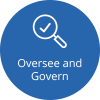 Icon that says Oversee and Govern with a magnifying glass image.